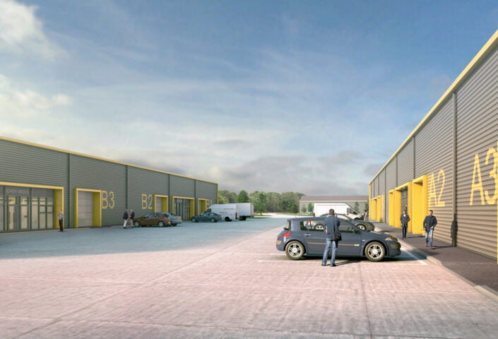 Computer generated image of Station Place, a development that will deliver ten industrial units in Newton Aycliffe ranging in size from 5,000 sq ft for start-up and growing businesses.